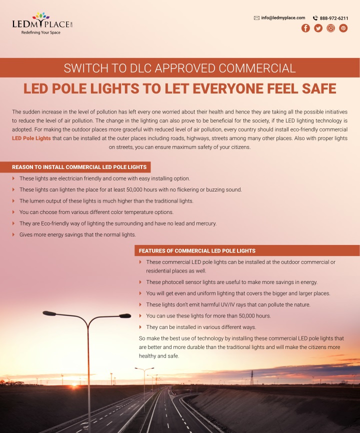switch to dlc approved commercial led pole lights n.