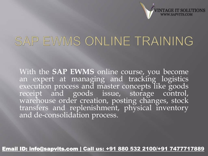 with the sap ewms online course you become n.