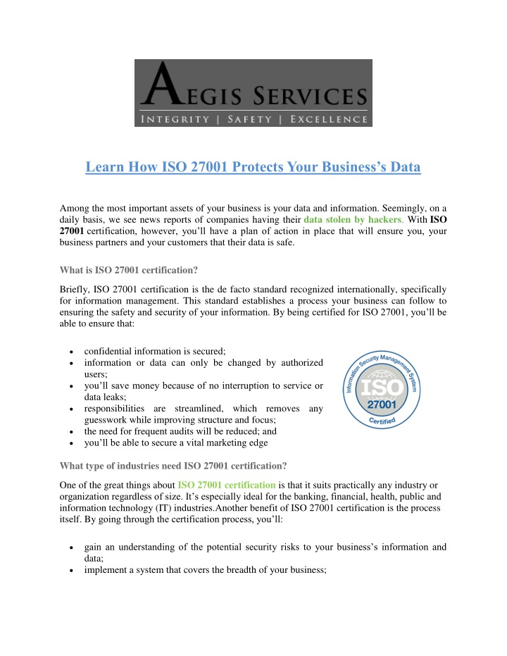 learn how iso 27001 protects your business s data n.