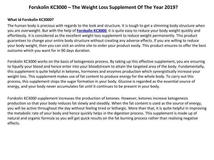 forskolin kc3000 the weight loss supplement n.