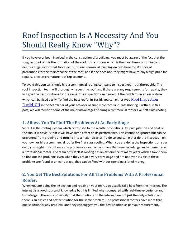 roof inspection is a necessity and you should n.