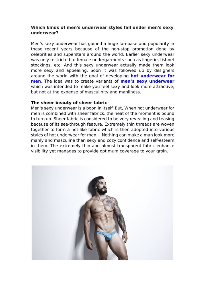 which kinds of men s underwear styles fall under n.