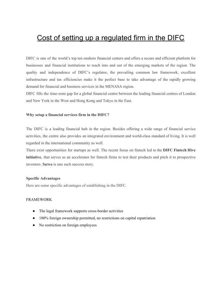 cost of setting up a regulated firm in the difc n.