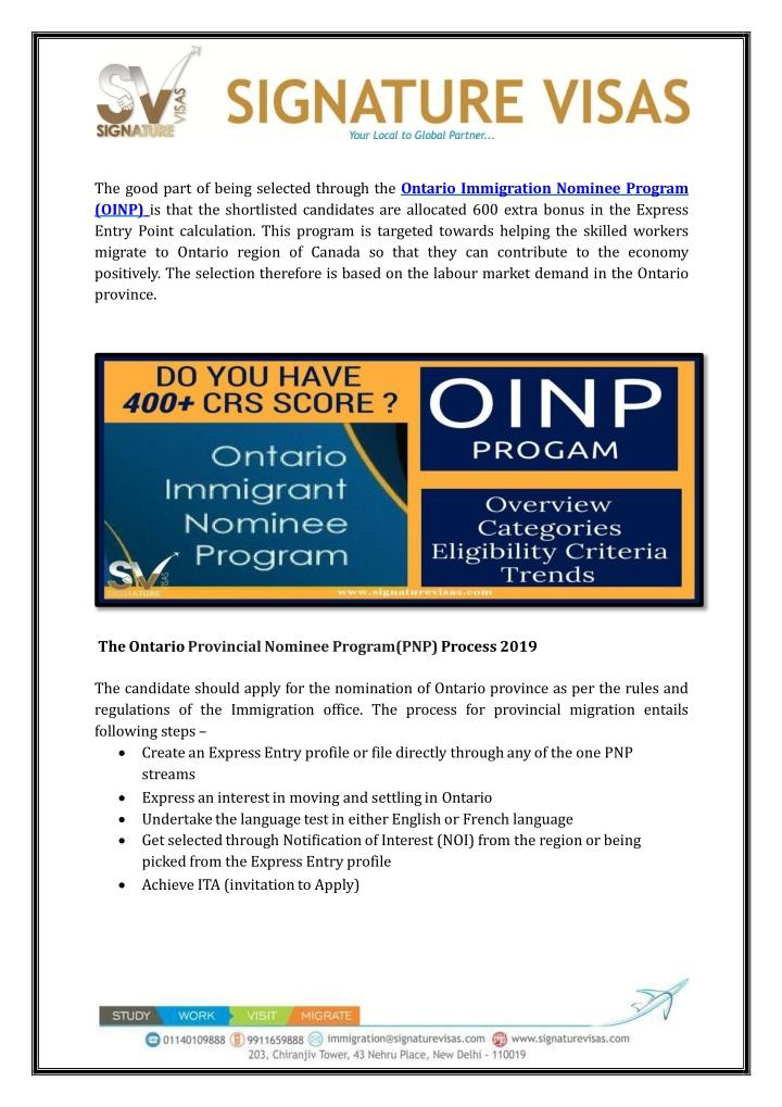 PPT - Ontario Provincial Nominee Program (PNP) 2019