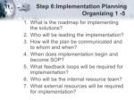step 6 implementation planning organizing