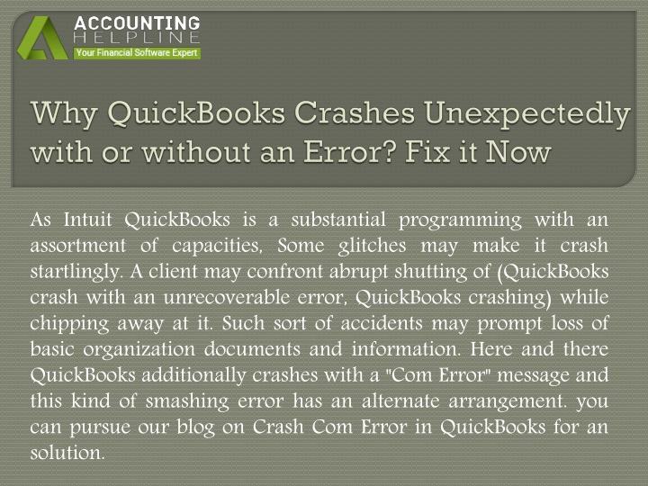 why quickbooks crashes unexpectedly with or without an error fix it now n.