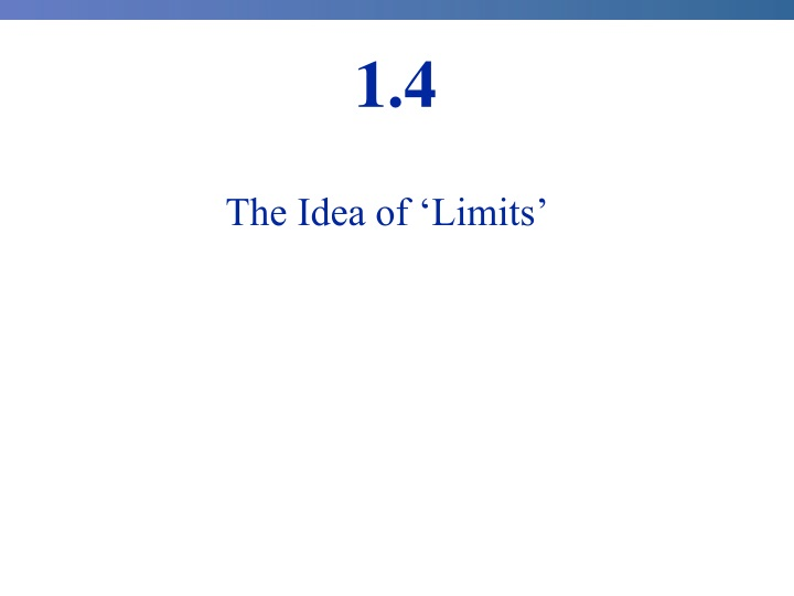the idea of limits n.
