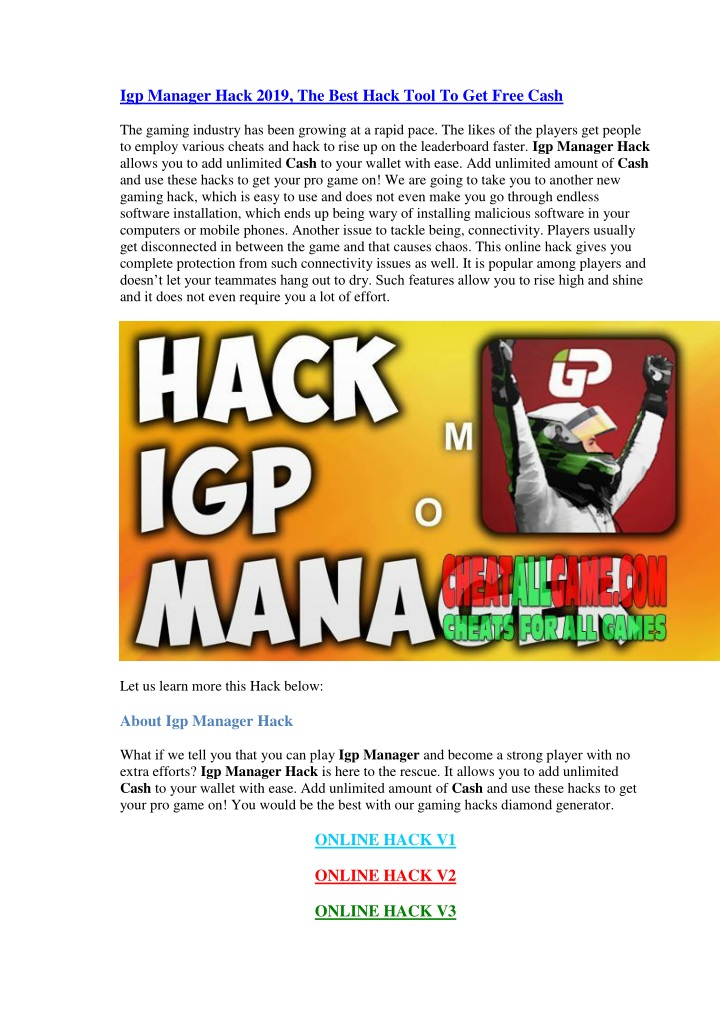 PPT - Igp Manager Hack 2019, The Best Hack Tool To Get Free Cash