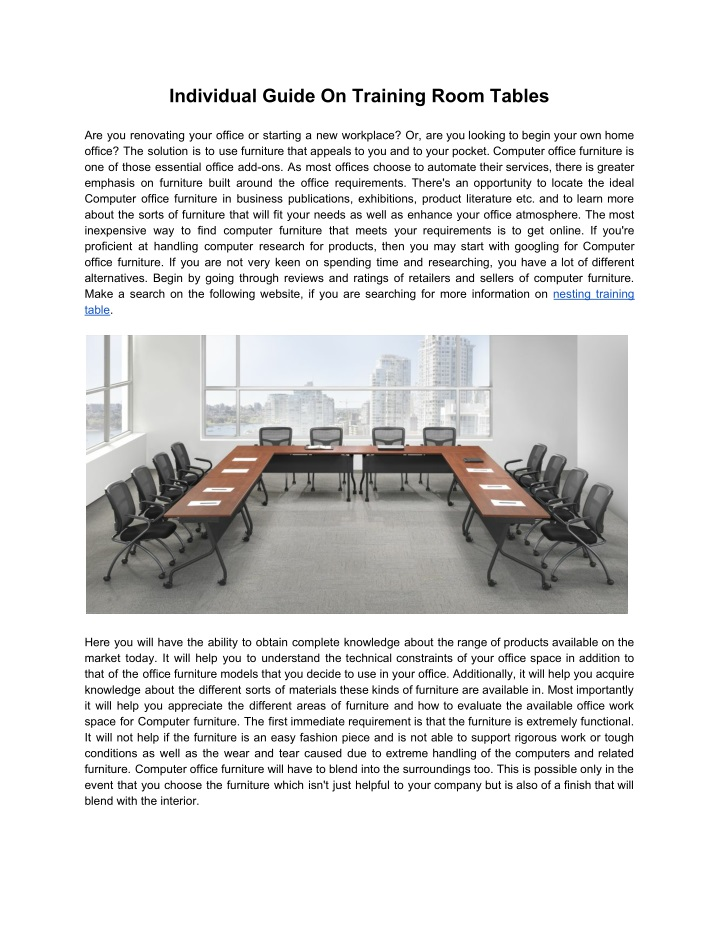 individual guide on training room tables n.