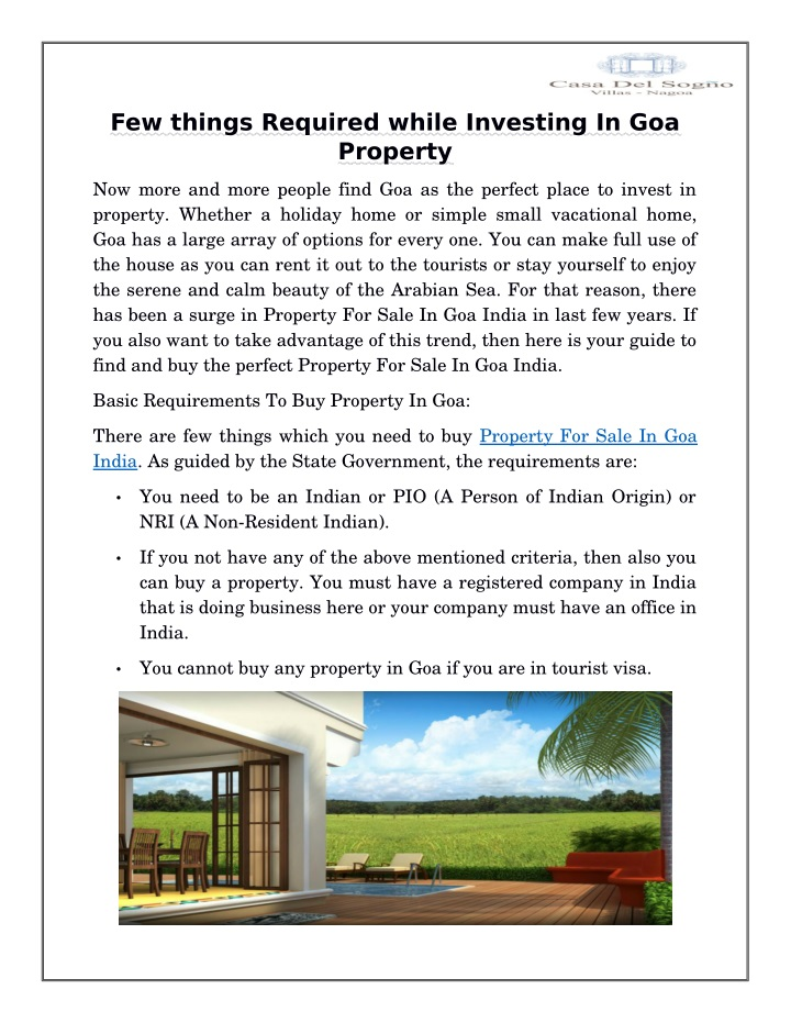 few things required while investing n.