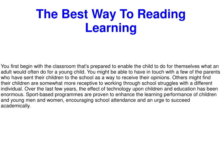 the best way to reading learning n.