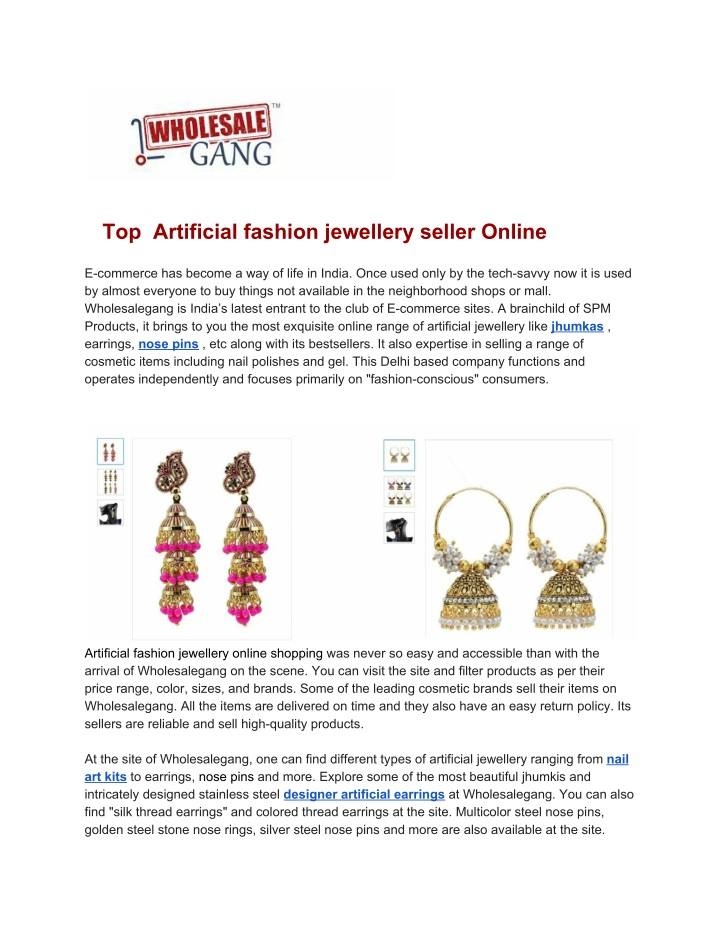 top artificial fashion jewellery seller online n.
