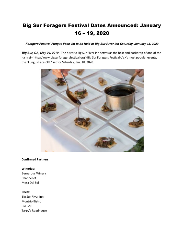 big sur foragers festival dates announced january n.