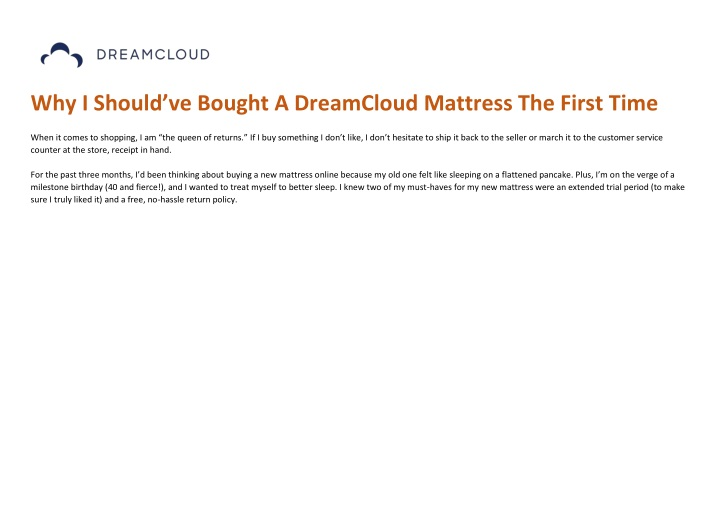 why i should ve bought a dreamcloud mattress n.
