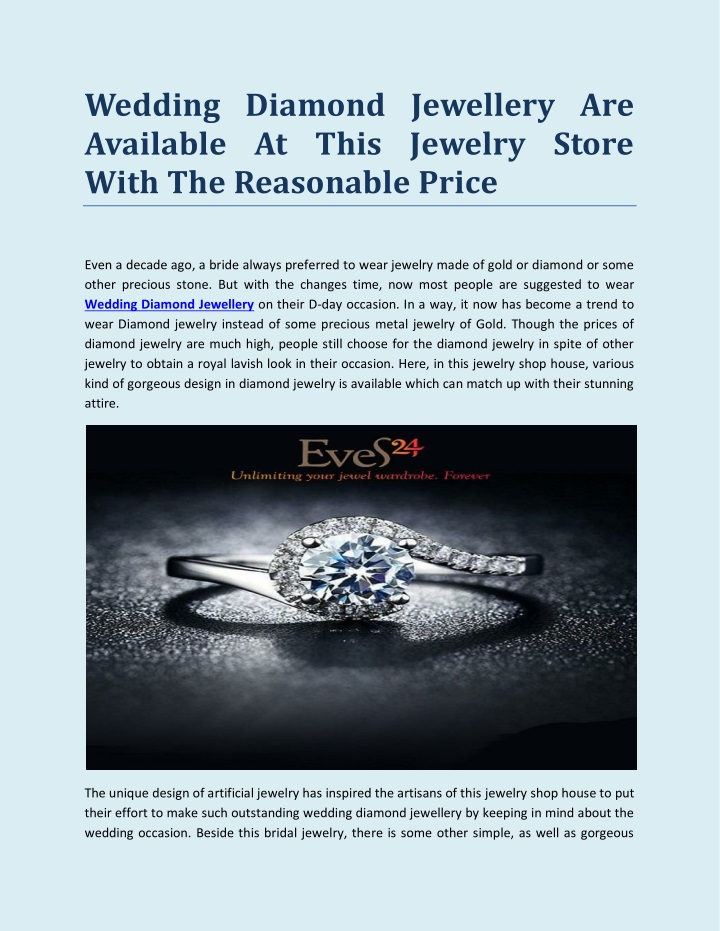 wedding diamond jewellery are available at this n.