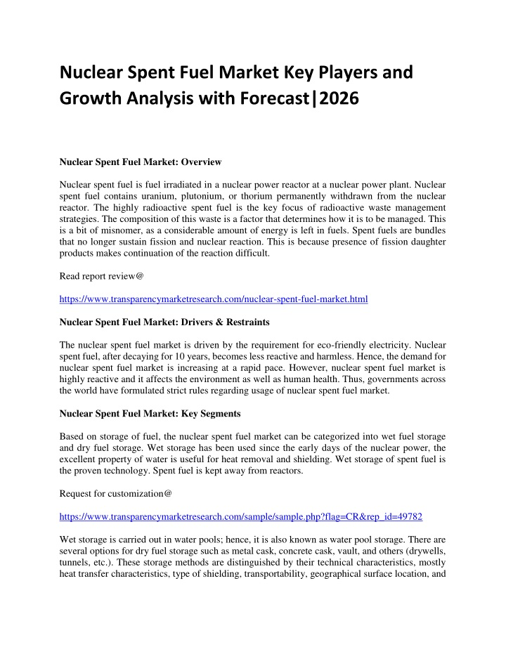 nuclear spent fuel market key players and growth n.