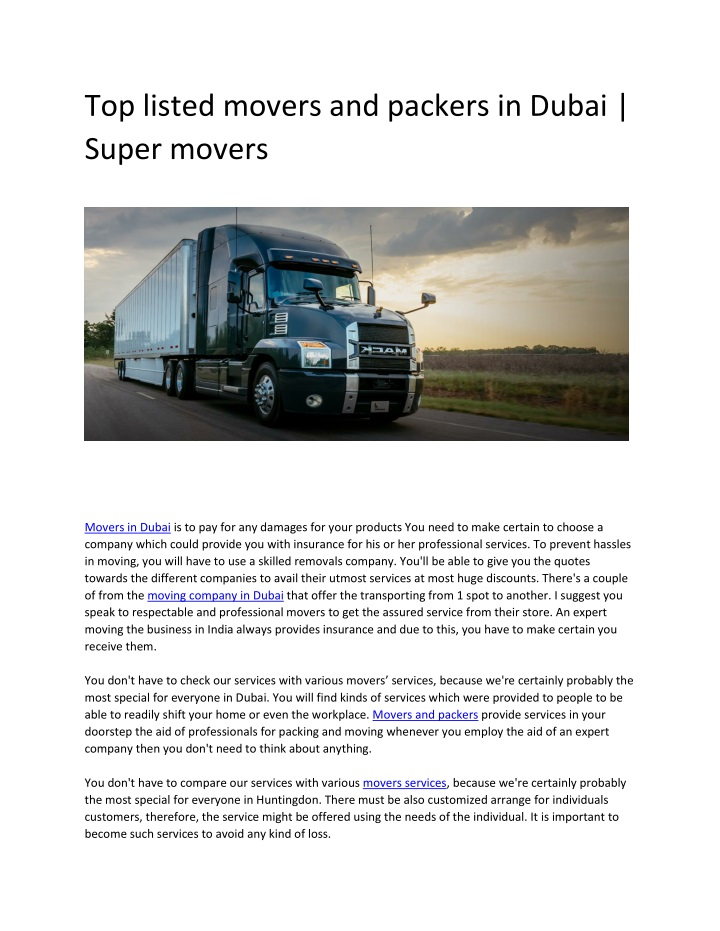 top listed movers and packers in dubai super n.