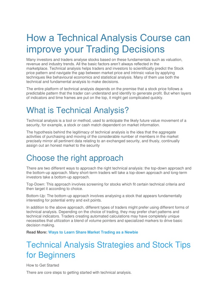 how a technical analysis course can improve your n.