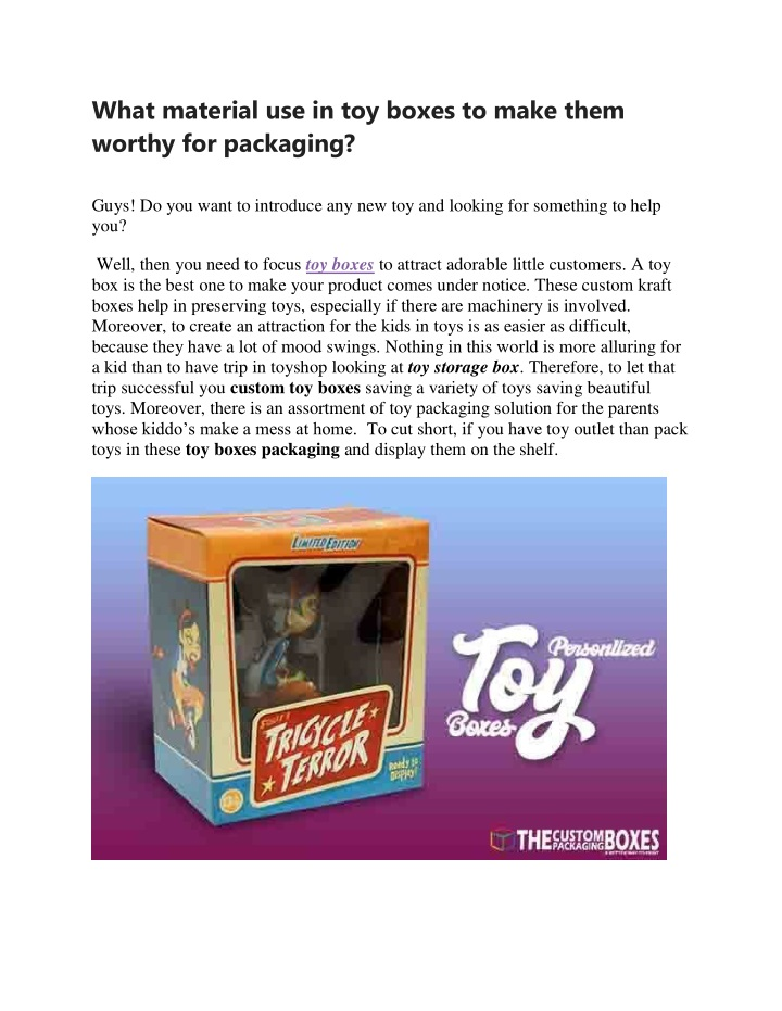 what material use in toy boxes to make them n.
