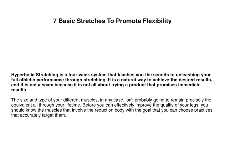 7 basic stretches to promote flexibility n.
