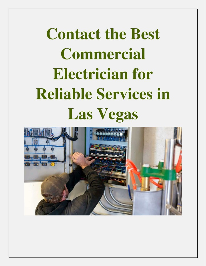 contact the best commercial electrician n.