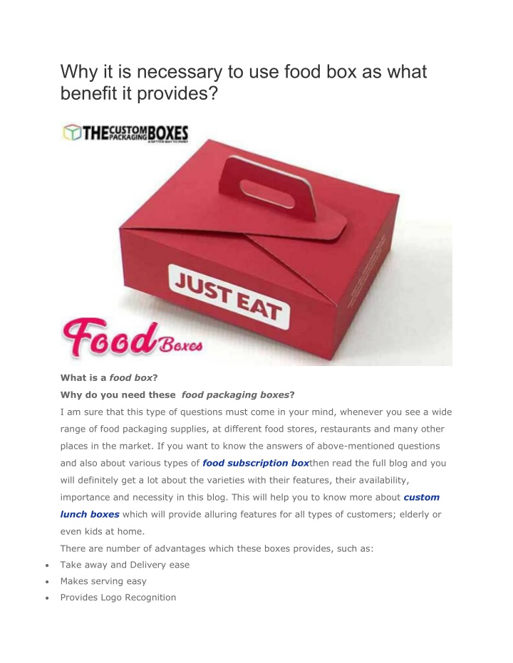 why it is necessary to use food box as what n.
