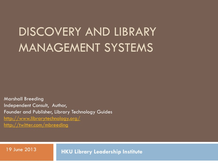 discovery and library management systems n.