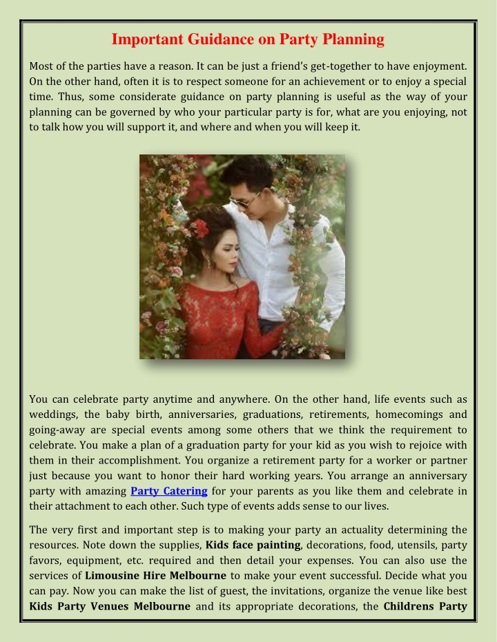 important guidance on party planning n.
