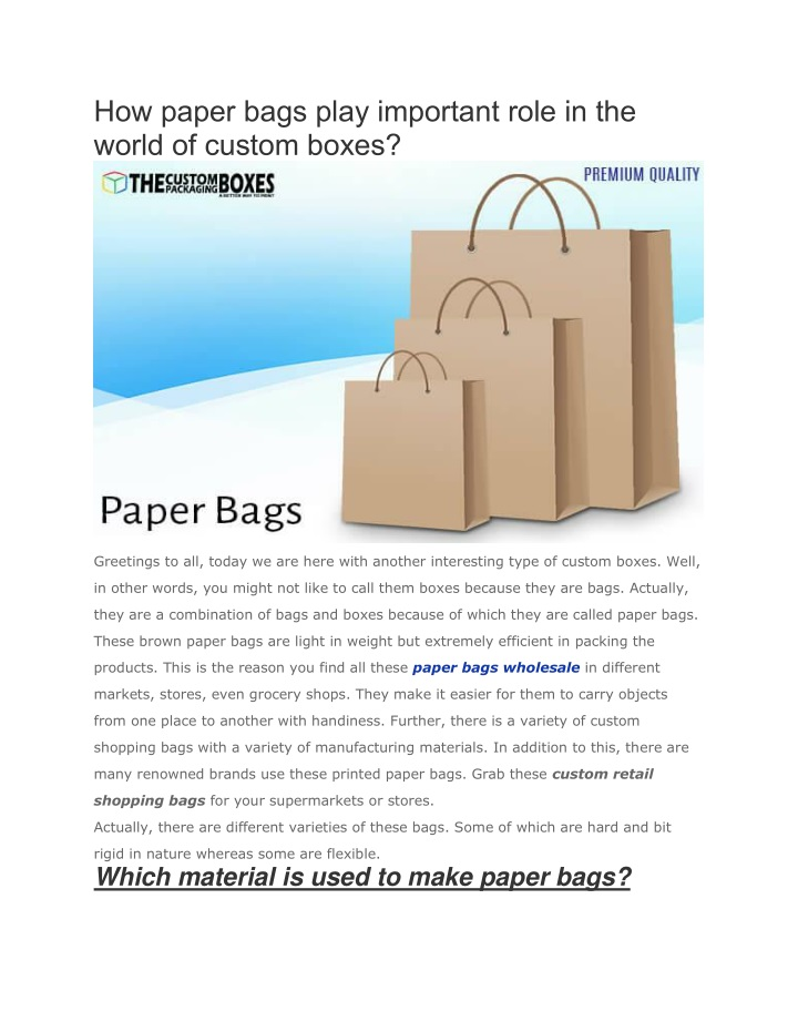 how paper bags play important role in the world n.