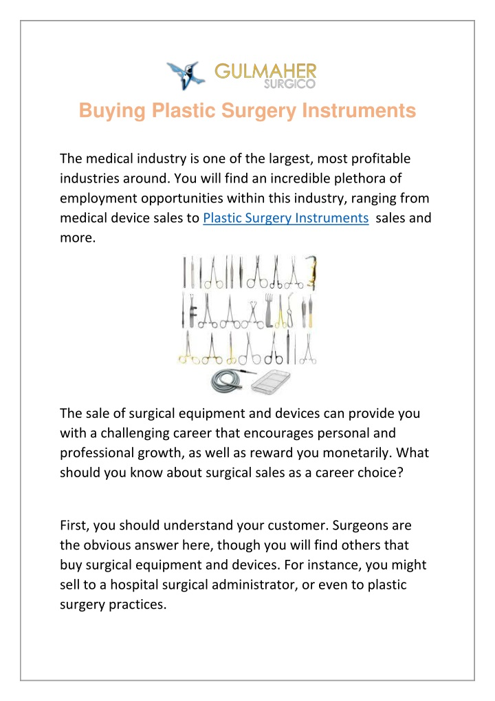 buying plastic surgery instruments n.