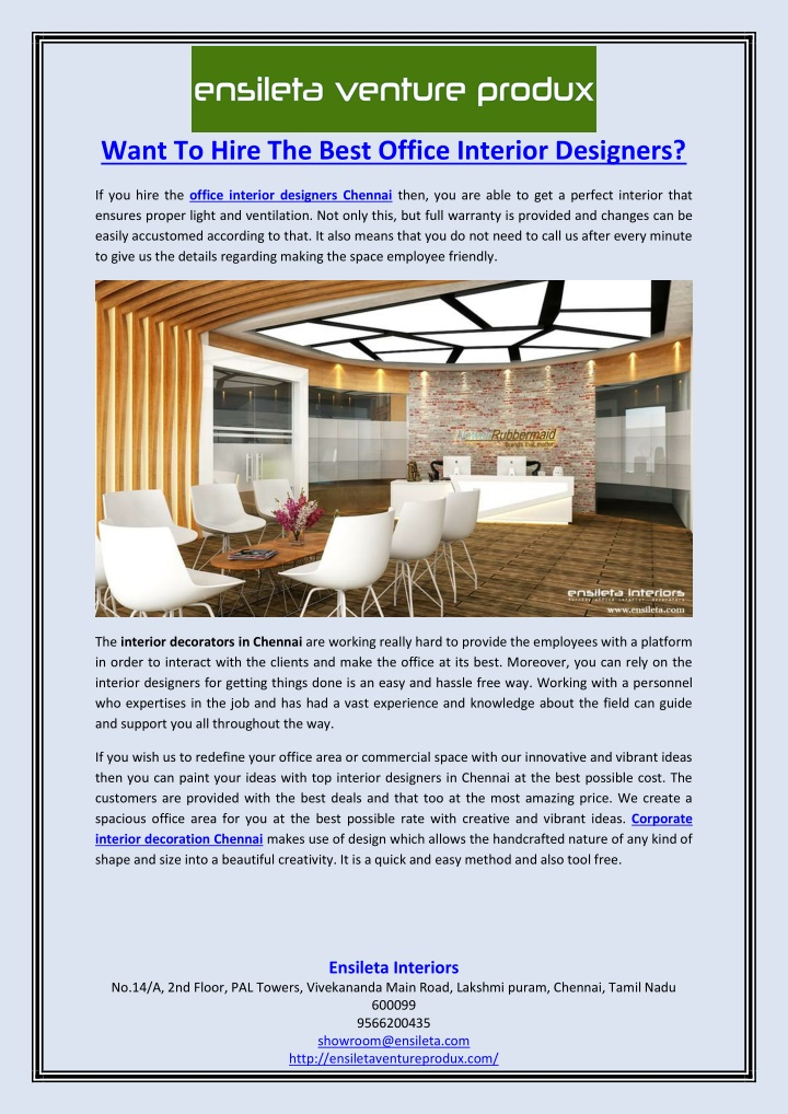 want to hire the best office interior designers n.