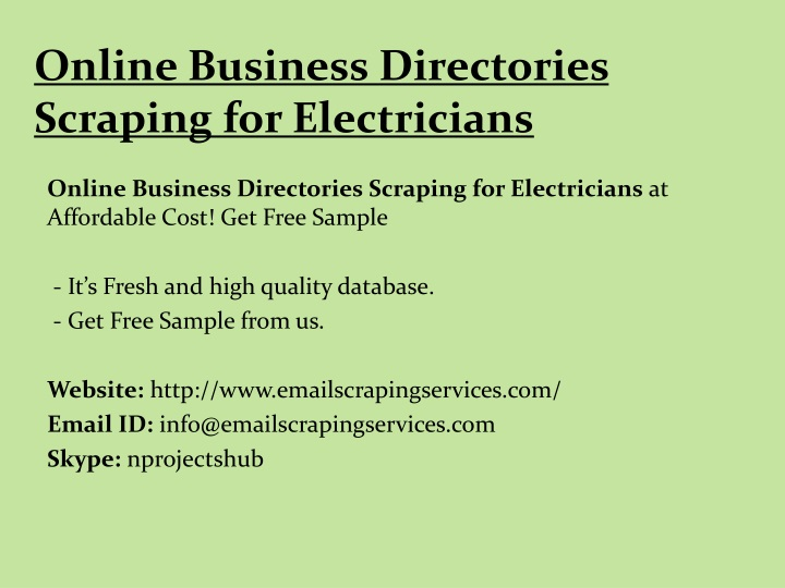 online business directories scraping for electricians n.