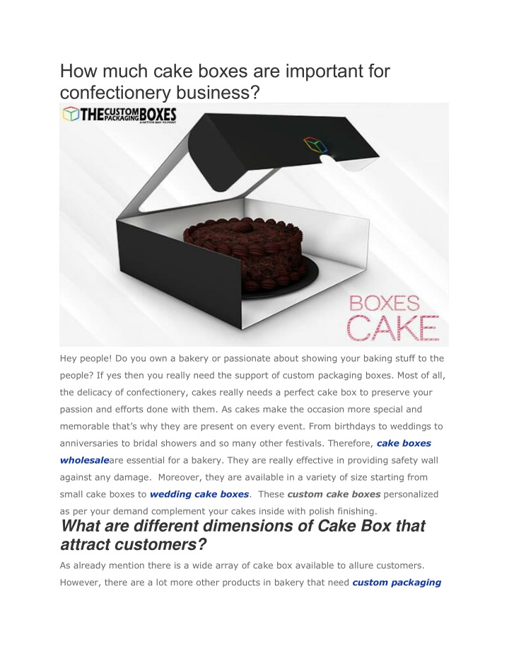 how much cake boxes are important n.