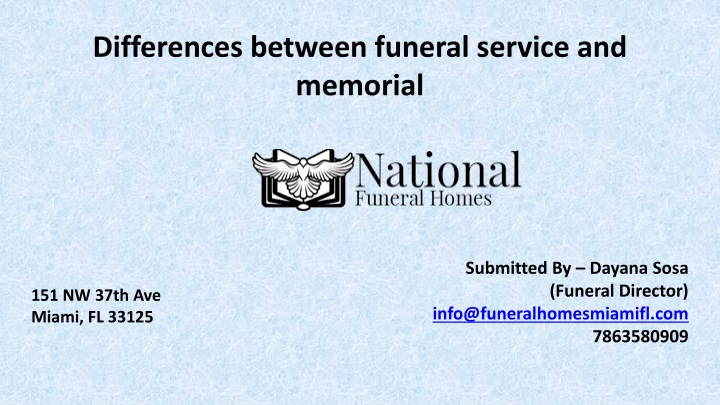 differences between funeral service and memorial n.