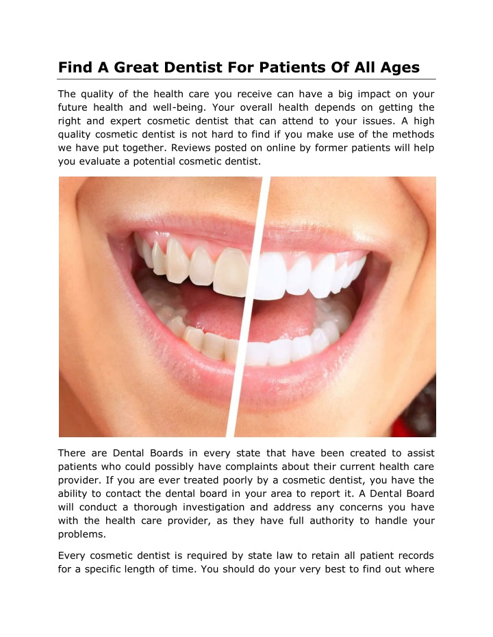 find a great dentist for patients of all ages n.