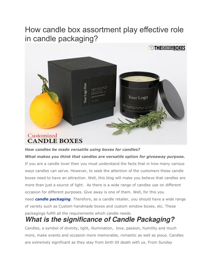 how candle box assortment play effective role n.