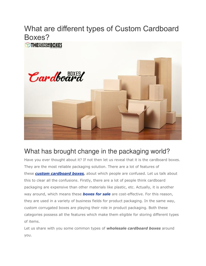 what are different types of custom cardboard boxes n.