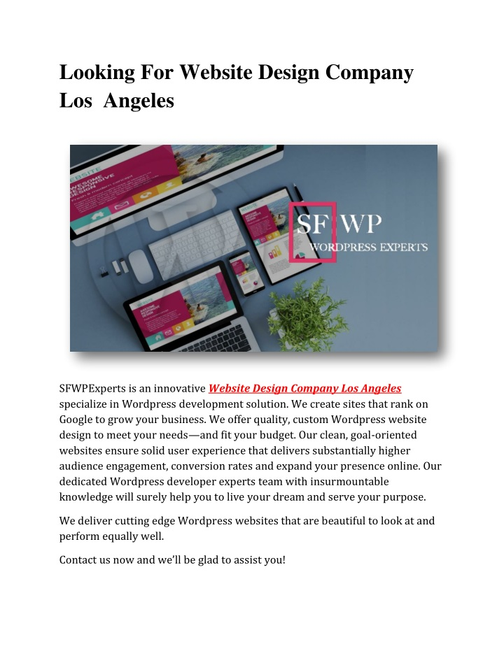 looking for website design company los angeles n.