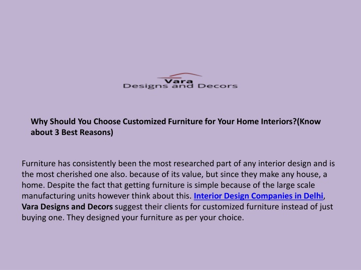 why should you choose customized furniture n.