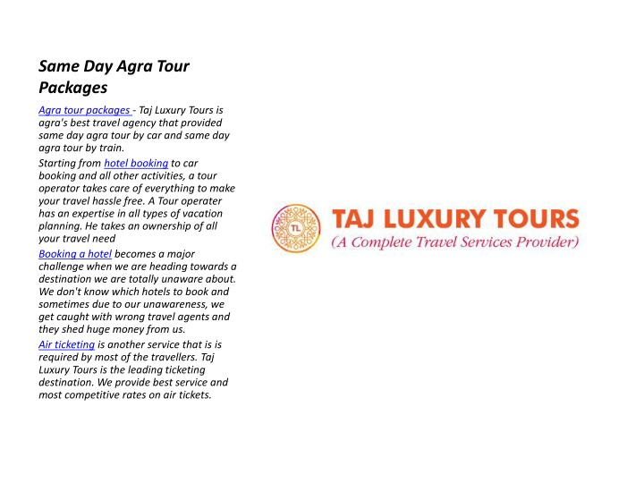 same day agra tour packages n.