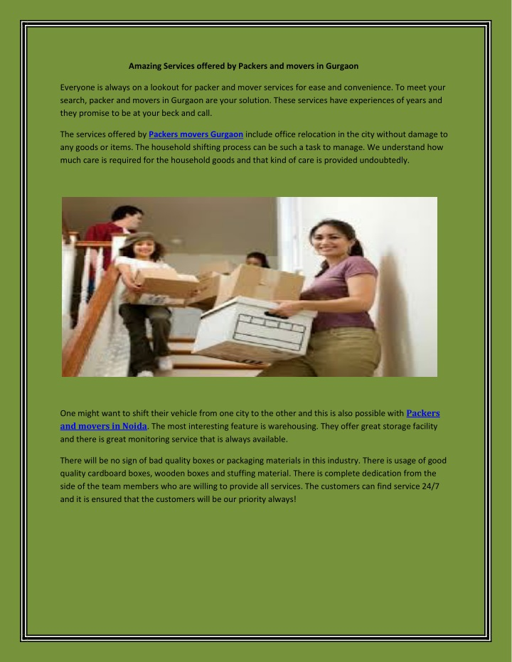 amazing services offered by packers and movers n.
