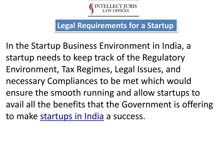 legal requirements for a startup n.
