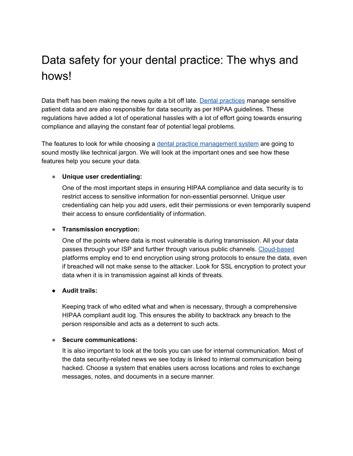 data safety for your dental practice the whys n.