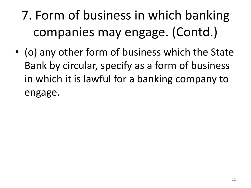 form of business in which banking companies may engage