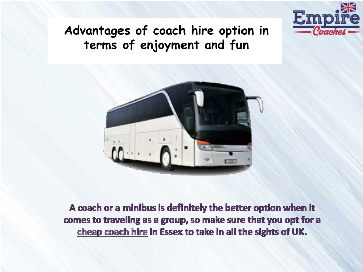 advantages of coach hire option in terms n.