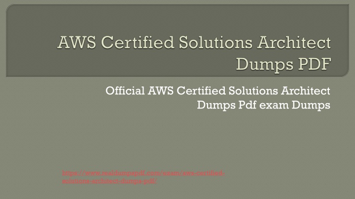 aws certified solutions architect dumps pdf n.
