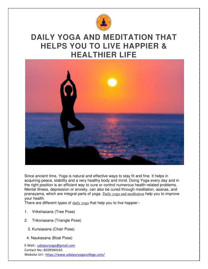 daily yoga and meditation that helps you to live n.