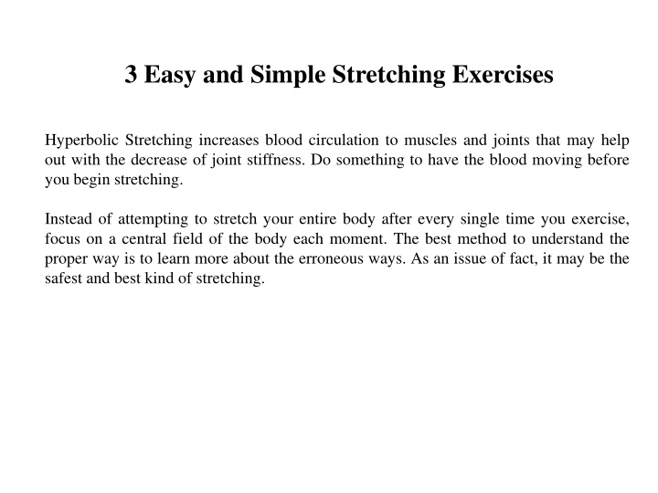 3 easy and simple stretching exercises n.