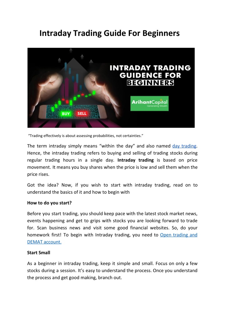 intraday trading guide for beginners n.
