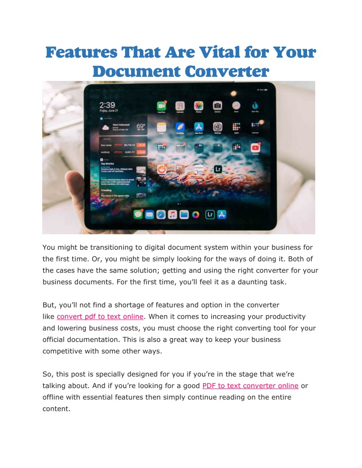 features that are vital for your document n.